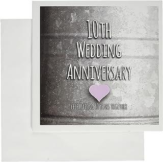 InspirationzStore Occasions - 10 周年结婚纪念礼物 - 锡庆祝 10 周年 - 10 周年纪念 - 贺卡 Set of 12 Greeting Cards