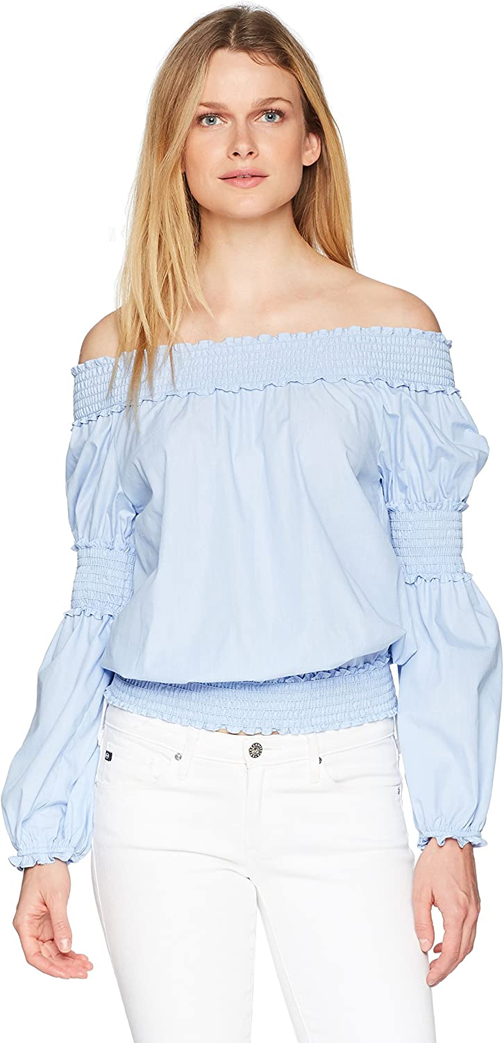 Max Studio Womens Off The Shoulder Smocked Top Blouse