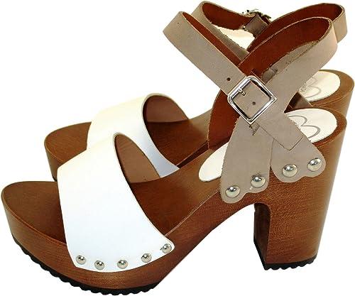 Silfer zapatos - Zuecos de Piel para mujer Bianco taupe