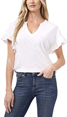 Short Sleeve Knit Top with Ruffle Sleeve