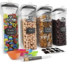 Cereal Container Storage Set - 100% Airtight Food Storage Containers, 8 Labels, Spoon Set & Pen, Great for Flour - BPA-Free Dispenser Keepers (135.2oz) 4PC - Chef's Path