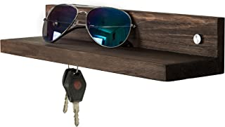 MyGift Contemporary Dark Brown Wood 14-Inch Wall Mounted Floating Shelf with 3 Magnetic Key Holders