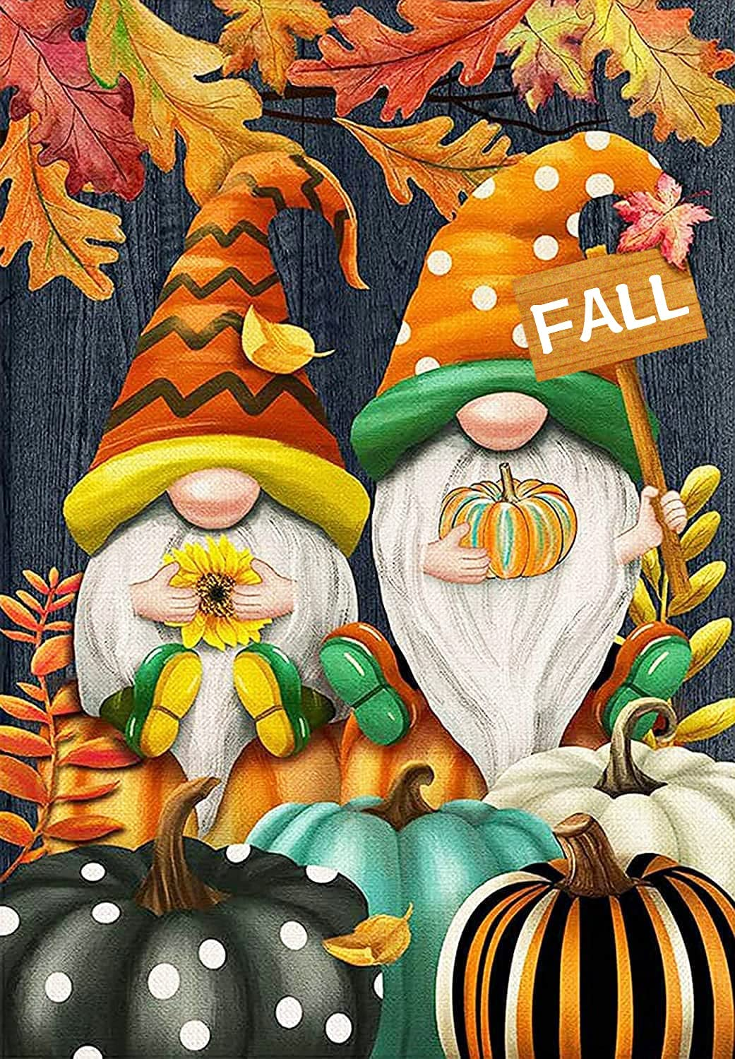 NAIMOER Diamond Painting Kits for Adults, DIY Full Drill Christmas Diamond Painting Fall Gnomes Pumpkins Round Diamond Art by Numbers Kits Gem Painting Crafts for Home Wall Decor 12x16 Inch