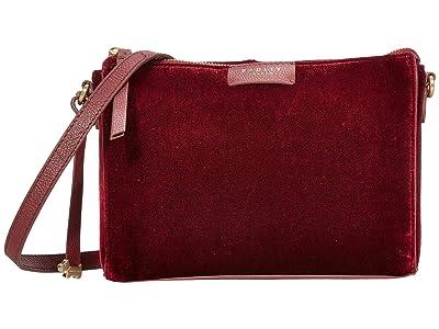 Radley London Selby Street Velvet Small Crossbody Clutch (Merlot) Clutch Handbags