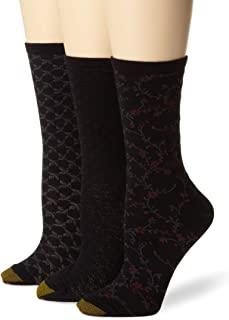 Women's 3-Pack Floral Diamonds and Leaf Patterned Socks