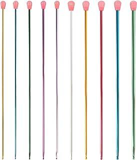 Curtzy Crochet Tunisien et Afghan en Aluminium (10 Tailles) - Chaque Crochet Tricot Mesure 35 cm - De 2,5 à 8 mm - Aiguill...