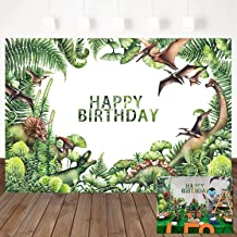 Mehofoto Dinosaur Theme Birthday Backdrop Green Leaves Birthday Party Background 7x5ft Boy's Roar Birthday Party Banner Decor Watercolor Photo Booth Studio Prop