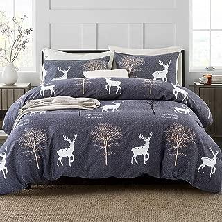 ARTALL 3 Pcs Soft Printing Duvet Cover Set Comforter Quilt Cover Kids Holiday Bedding Set, Deer Forest Pattern, Grey, Full/Queen(90