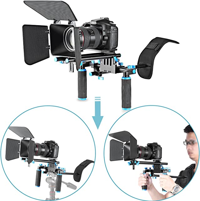 Neewer® DSLR película Kit de juego de hacer Rig Sistema de Video para Videocámara o DSLR Cámara Tales como Canon Nikon Sony Pentax Fujifilm Panasonic incluyen: (1) soporte de hombro + (1) Barra de 15mm Rod sistema + (1) caja mate