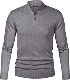 iClosam Maglioni Uomo Invernali Collo Alto con Zip Pullover Giacca in Maglia Maglione Sweater Invernale