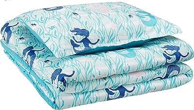 AmazonBasics Kid's Comforter Set - Soft, Easy-Wash Microfiber - Single, Blue Mermaids