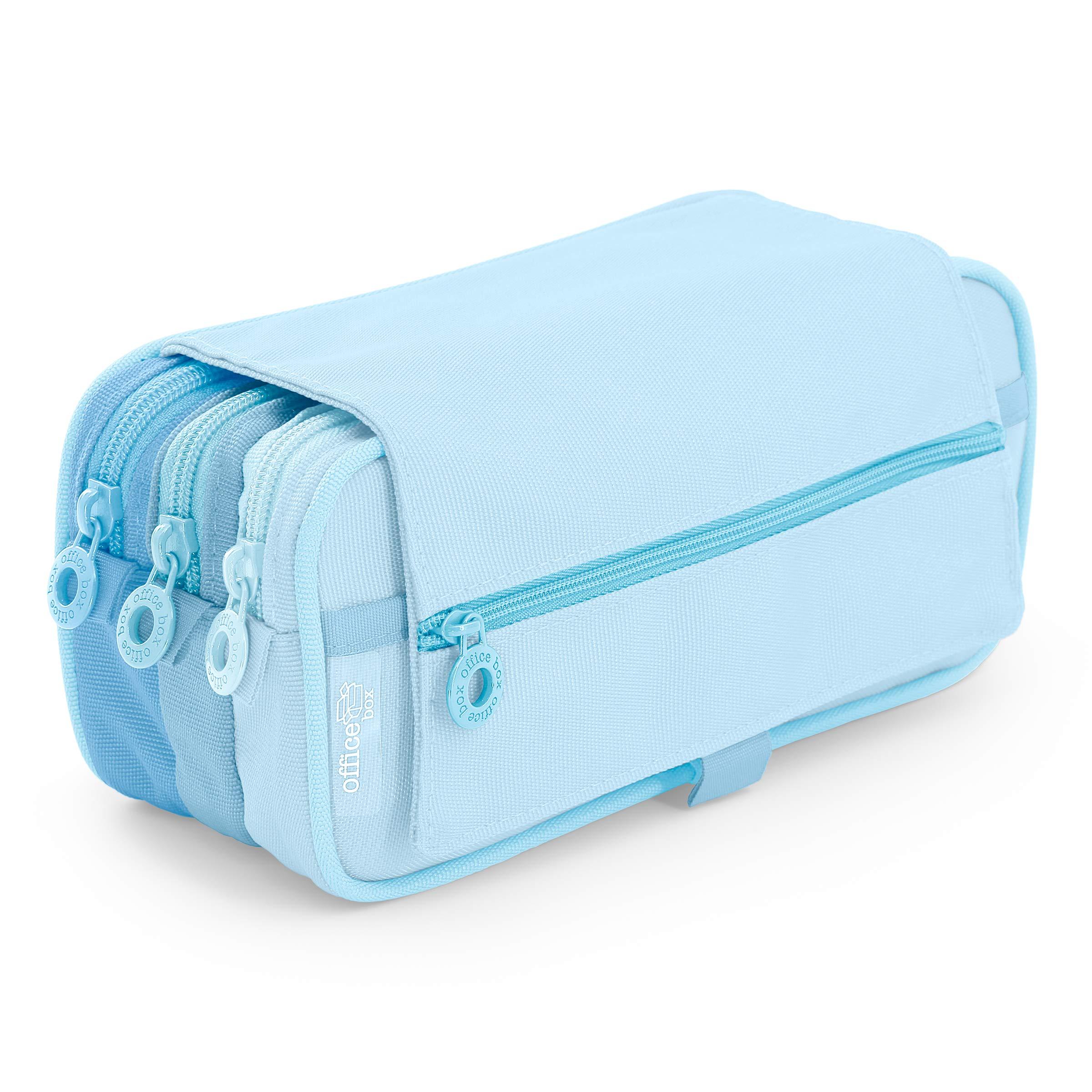 Estuche Portatodo Triple de Amplios Apartados Interiores con Tres Cremalleras para Material Escolar o Neceser. Blush Pastel Azul: Amazon.es: Oficina y papelería