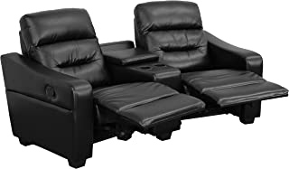 Flash Furniture Futura Series 2-Seat Reclining Black Leather Theater Seating Unit with Cup Holders