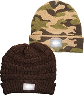 Funky Junque Solid Ribbed Day/Night Reversible LED Flash Light Beanie Hat