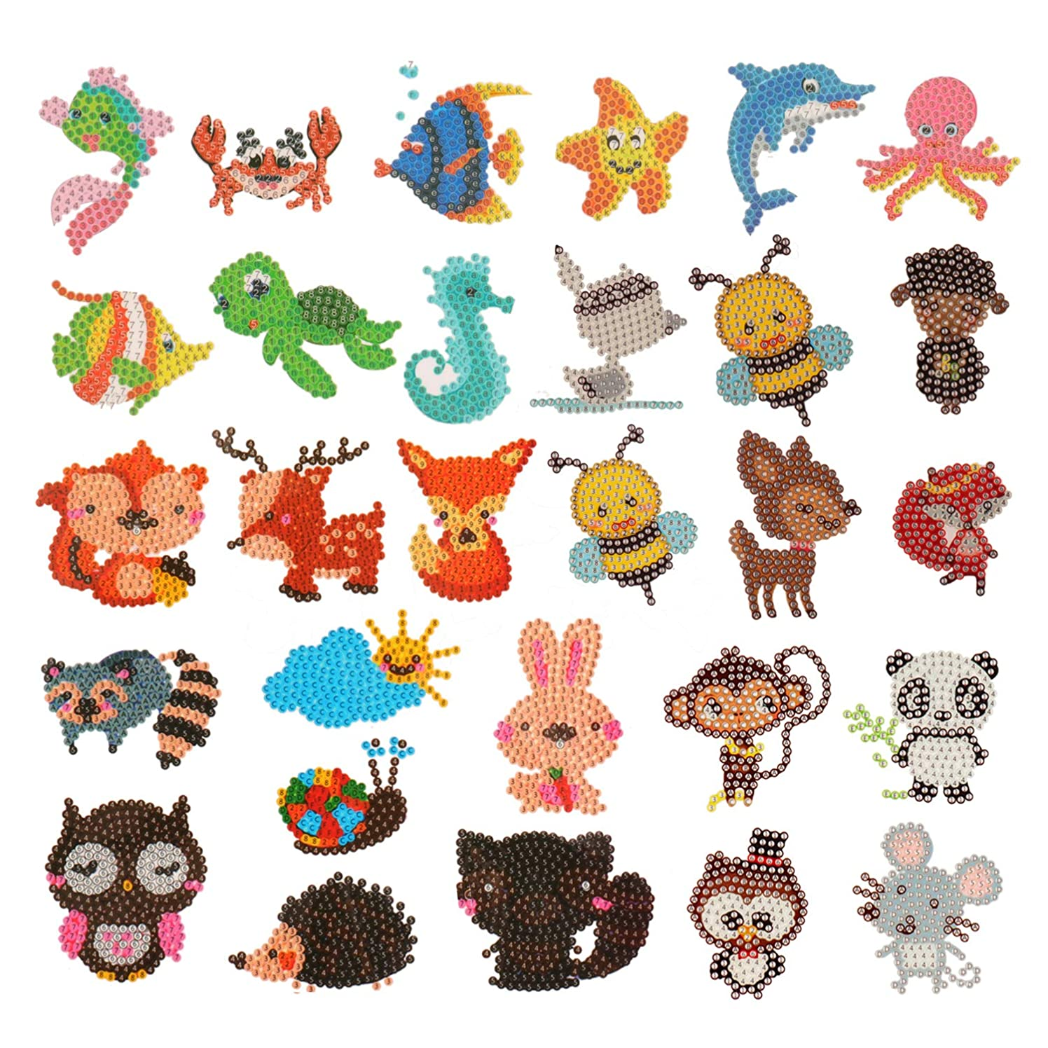 HaiMay 29 Pieces 5D DIY Diamond Painting Kits Animal Stickers with Corresponding Diamonds for Kids and Adult Beginners, Stick Paint with Diamonds by Numbers Easy to DIY, Cute Animals, Sea World