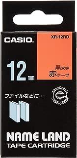 カシオ ラベルライター ネームランド 純正 テープ 12mm XR-12RD 赤地に黒文字