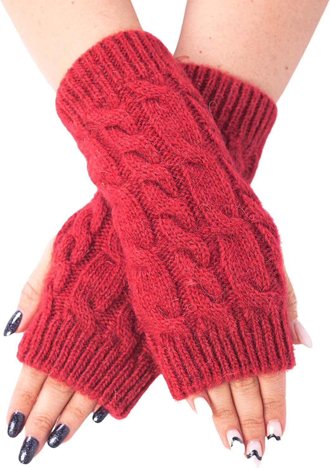 Fingerless Gloves Arm Warmers Wool Knitted Mittens for Women Long Fingerless Thumb Hole Knit Arm Warmers