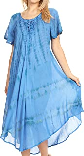 Sakkas Dalida Women's Short Sleeve Corset Tie dye Embroidered Flared Dress