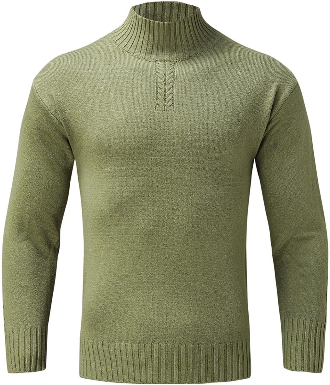 XUNFUN Men's Casual Slim Fit Mock Turtleneck Sweater Lightweight Basic Solid Color Knitted Thermal Pullover Tops Sweaters