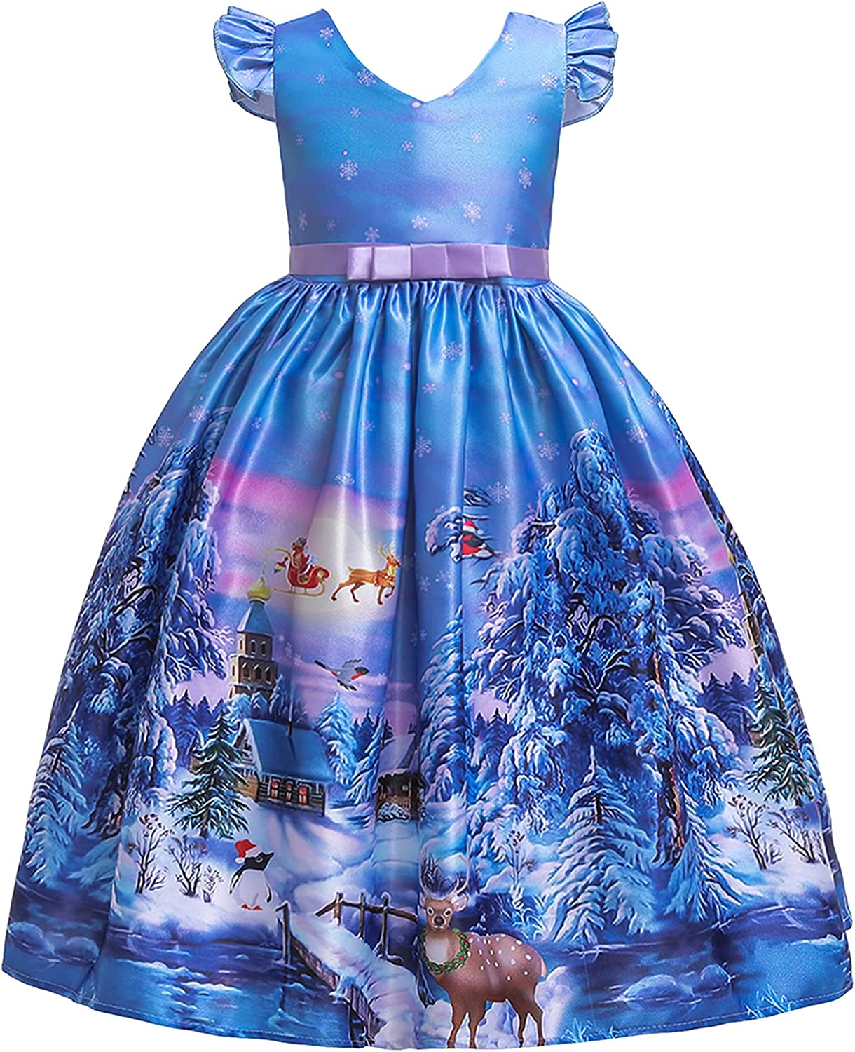 YMING Girls Crew Neck Christmas Party Gown Xmas Santa Pageant Princess Dresses Maxi Gown