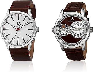 Joshua & Sons Men's Quartz Watch Set, Genuine Leather Strap, Watch Display Box Included