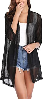 iClosam Women Casual 3/4 Sleeve Sheer Open Front Cardigan Sweater