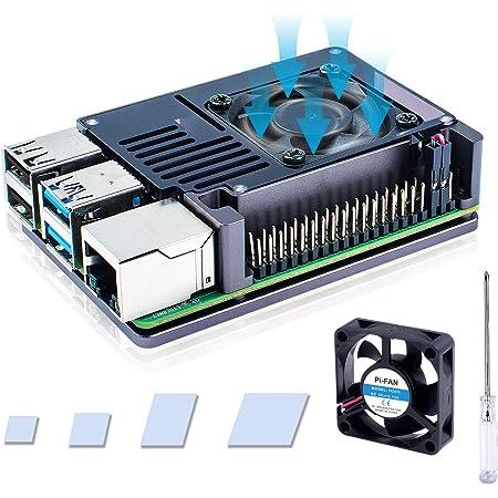 最新 Raspberry Pi 4 ケース, 超薄型アルミニウム合金ケース+ヒートシンク+ 35x35x10 冷却大超静音ファン Raspberry Pi4 Model B 8gb /4gb / 2gb / 1gb (ラズベリーパイ4モデルB) 対応 (ラズパイ4本体含みません)