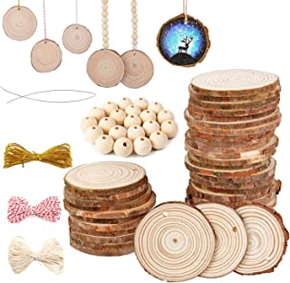 AD Beads 230 Pieces Natural Wood Slices and Round (30 Pieces Slices, 16mm 50 Pieces, 14mm 50 Pieces, 12mm 100 Pieces) Plus...