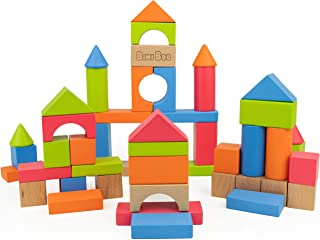 Bimi Boo Colored Wooden Blocks - Wood Building Toys - Classic Toy Set for Kids and Toddlers of Preschool Age (Developmental Toys, Build and Play with 50 Pieces in Variety of Sizes, Shapes and Colors)