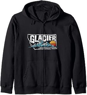 Glacier National Park Montana Mountain Typography Graphic Sweat à Capuche