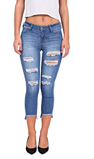 881f8e52651 Celebrity Pink Jeans Women Middle Rise Distressed Crop Skinny Jeans with  Uneven Fray Hem