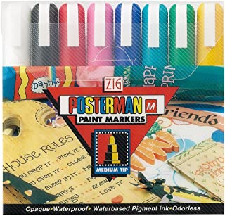 Zig Posterman Medium Tip Markers, Multicolor, 8-Pack