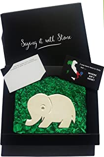 Handmade in Italy Stone Elephant - Symbol of Good Luck, Family Love, Strength, Confidence, Patience & Pride - Gift Box & Blank Message Card Incl - Contains Fossil Fragments - Birthday Exams Graduation