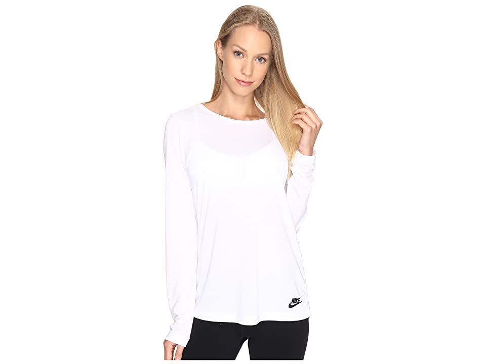 Nike Sportswear Essential Long Sleeve Top (White/White/Black) Women