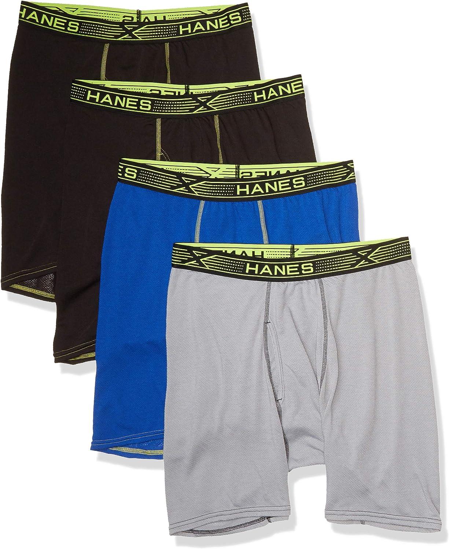 Hanes Ultimate Men's Sport X-Temp Breathable Mesh Long Leg Boxer Brief 4-Pack