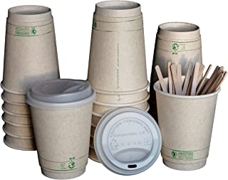 Compostable Disposable Coffee Cups To Go with Lids, Wooden Stirrers, and Integrated Sleeves | [100 Pack - 12 Ounce] - BPI Certified BIOCUPS: PLA, Eco Friendly, Biodegradable, Cups - Living Balance