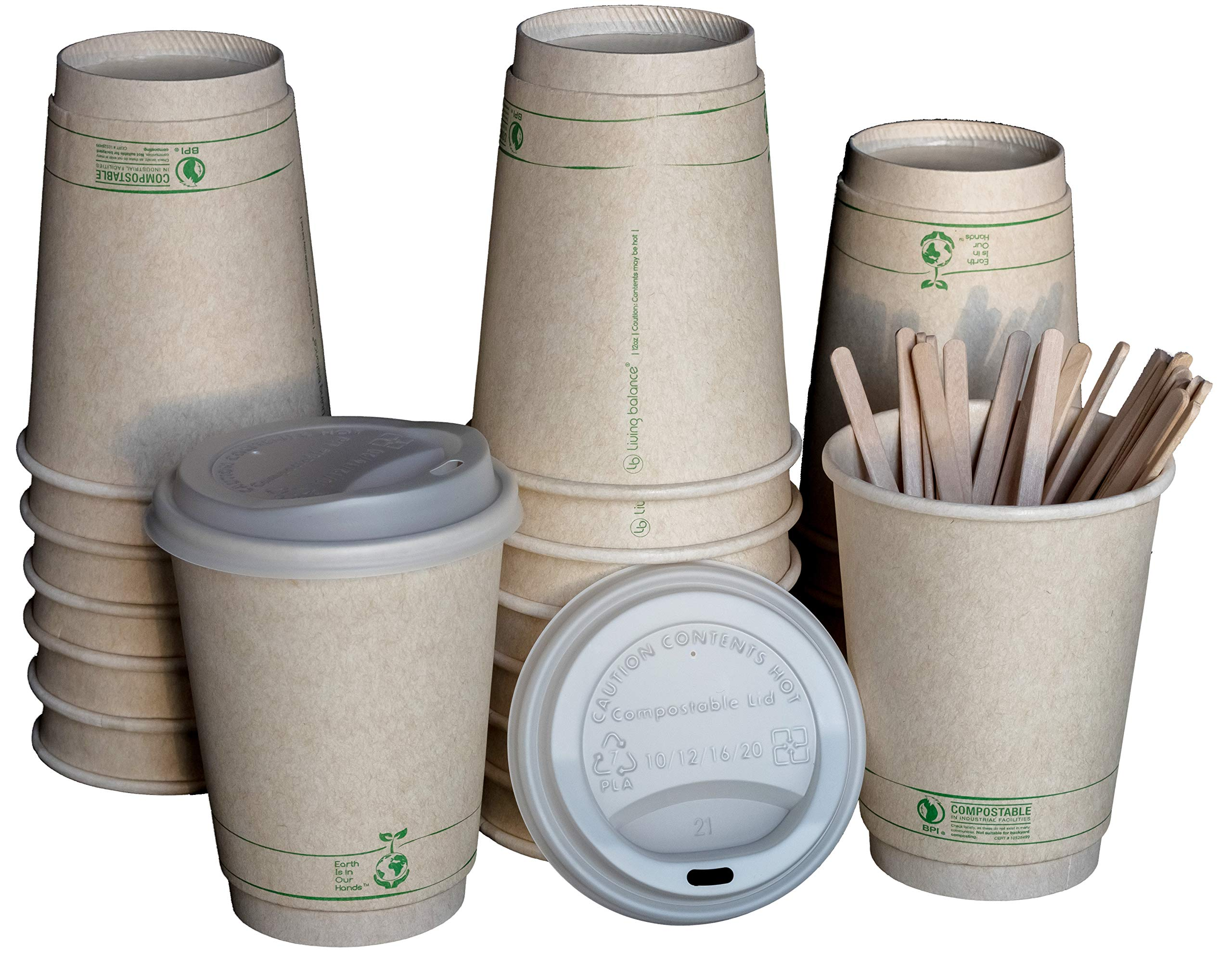 12 oz | 100 Pack 100% Compostable to go Coffee Cups with Lids, Wood Stirrers, and Integrated Sleeves |BPI Certified BIOCUPS: PLA, Eco Friendly,