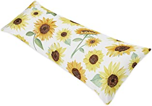 Sweet Jojo Designs Yellow, Green and White Sunflower Boho Floral Body Pillow Case Cover (Pillow Not Included) - Farmhouse Watercolor Flower