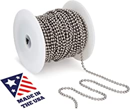 Beaded Ball #6 Chain - Stainless Steel 100 Feet Spool for Plumbing and Industrial Equipment Labeling, Commercial Retaining Applications and Vertical Blinds