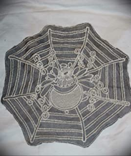 1 Extra Large Black Cream Sheer Spider Web Sewing Applique Patch 11