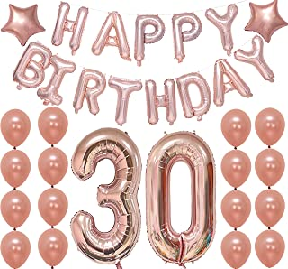 Rose Gold 30th Birthday Decorations – Large, Pack of 33 | Number 3 and 0 Rose Gold Happy Birthday Letter Balloons Banner | Great for 30 Year Old Party Supplies | Star Mylar Foil and Latex Balloon