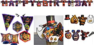 Five Nights At Freddy's Party KIt- 2 Party banners, Happy BIrthday Banner, Photo Booth Props, Centerpiece and Hanging Cutouts