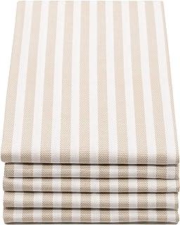 ZOLLNER 5er Set Geschirrtücher gestreift, 50x70 cm, beige weiß gestreift