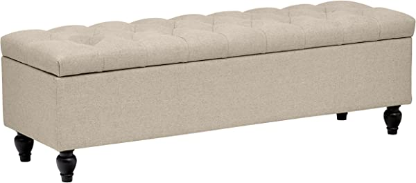 Stone Beam Nori Tufted Storage Bench 58 L Natural