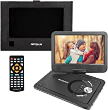 Apzka 5 Hours 12.5 Inch Portable DVD Player with Built-in Lithium Battery, 10.5 Inch Internal Swivel Screen, 1.8M Power Adapter and Car Charger, USB Port and SD Card. 1080P Video Supported, Black