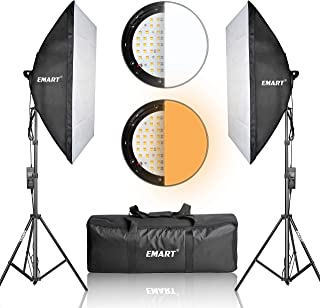 """Emart Photography Softbox Lighting Kit, Photo Equipment Studio Softbox 20"""" x 27"""", 45W Dimmable LED with Double Color Temperature for Portrait Video and Shooting"""