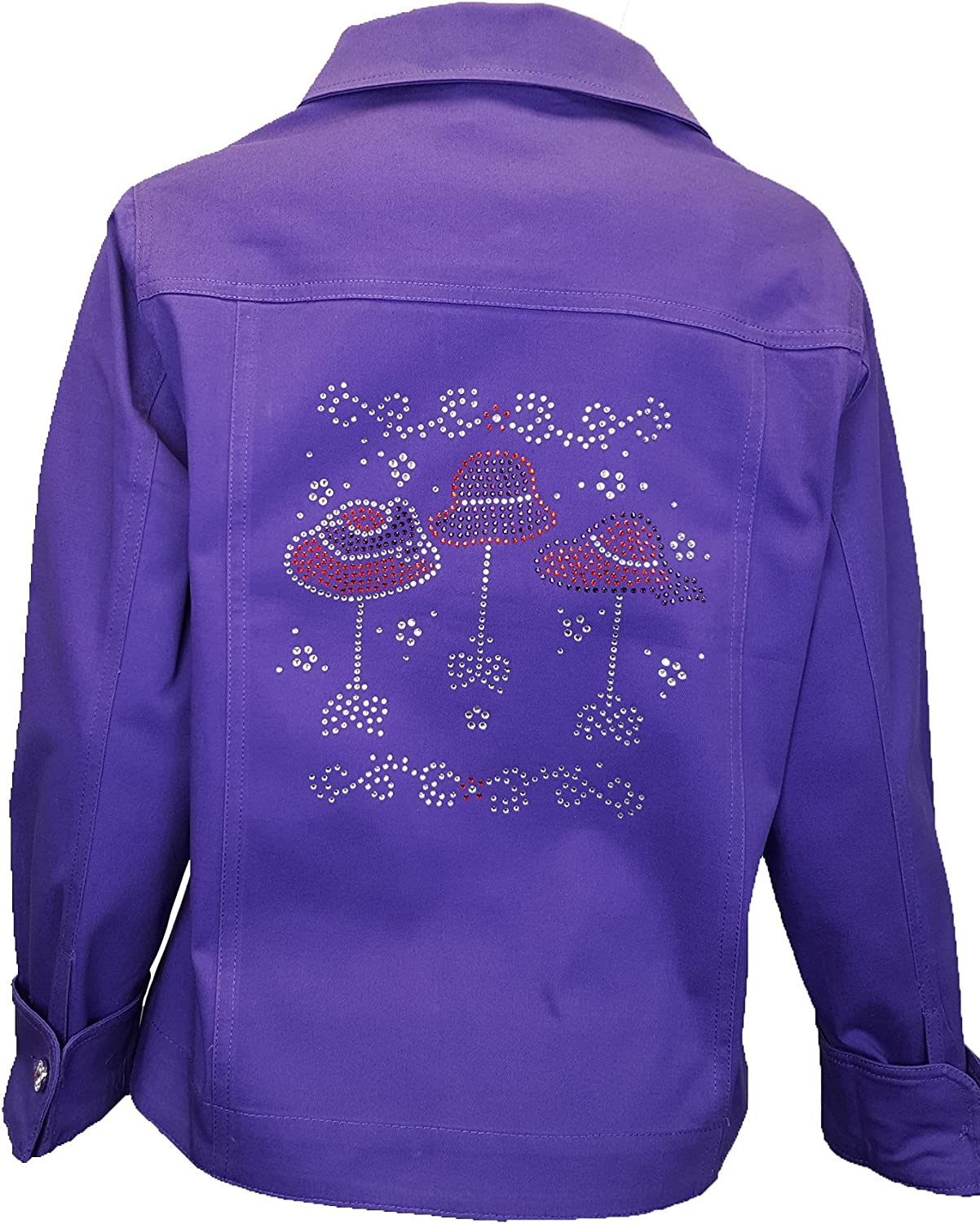 ID ISAAC'S DESIGNS Purple Red Hat Society Womens Bling Rhinestone Jacket with Stretch