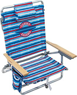 """Tommy Bahama 5-Position Classic Lay Flat Folding Backpack Beach Chair - Red, White, and Blue Stripe, 23"""" x 25.25"""" x 31.5"""""""