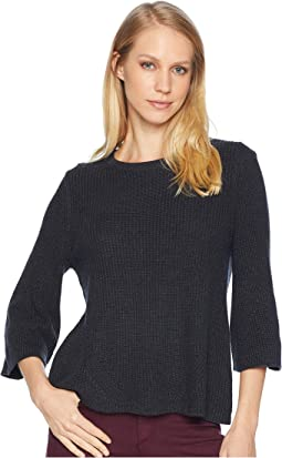 Cotton Knits 3/4 Sleeve Swing Sweater