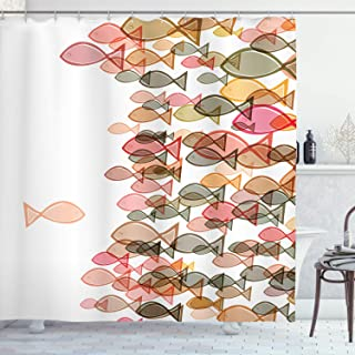 Ambesonne Nautical Shower Curtain, Fish Flock Facing Others Design Seashore Print in Soft Pastel Color Tones, Cloth Fabric Bathroom Decor Set with Hooks, 70